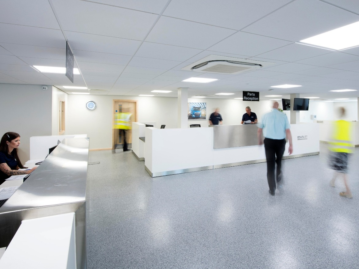 Reception, parts and service counters at the Motus Commercials Gloucester
